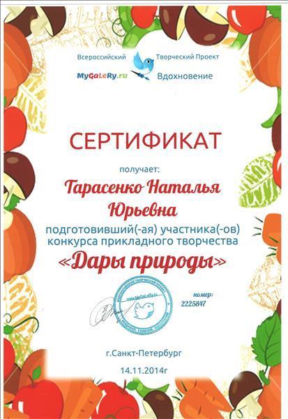 Сертификат в творческом конкурсе